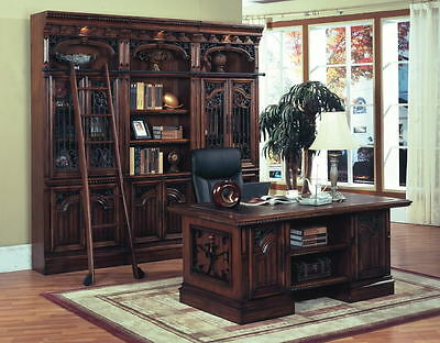 Barcelona Executive Desk Home Office Furniture Solid Wood Metal Accents Leather
