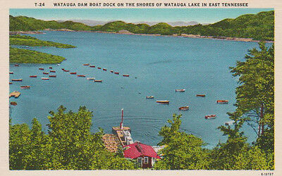TENNESSEE-WATAUGA LAKE & BOAT DOCK Unposted, Hand Colored Print, Antique Card