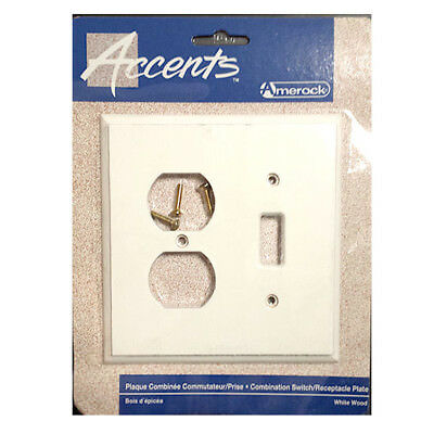 White Wood Single Toggle Light Switch Duplex Outlet Wall Plate Cover Amerock