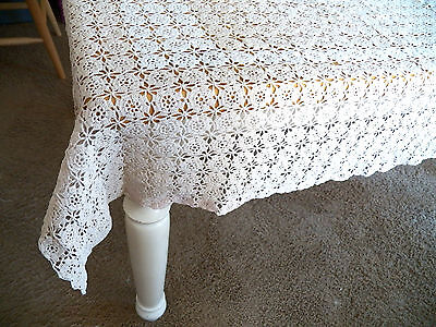 """LovelyVintage 1940's HandCrocheted Tablecloth-great cond.-one flaw-46""""x48""""-LOOK!"""
