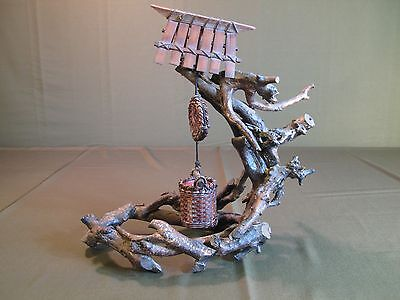 Rare Japanese Hand Made Folk Art of Water Well Bucket Hanging on a Tree