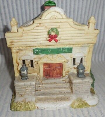 Collectible Christmas City Hall Ceramic Light Up Capable Village House {L3} AG