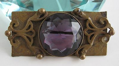 Arts & Crafts Era Acid Etched Brass Faceted Amethyst Glass Pin Antique Victorian