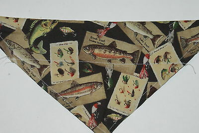 Dog Bandana, OVER THE COLLAR, clothes, pet, Gone Fishing! LARGE, #661