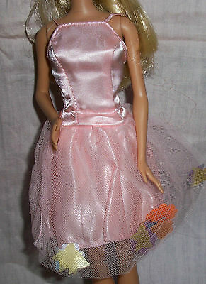 Barbie Doll Clothes Clothing Light Pink Mini Dress With Butterfly Flower Skirt