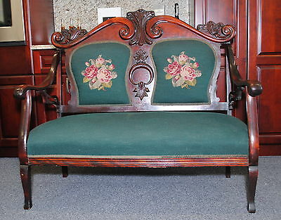 ANTIQUE MAHOGANY CARVED FRENCH VICTORIAN NEEDLEPOINT SETTEE SOFA COUCH LOVE SEAT