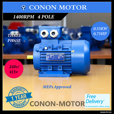0.55kw 0.75HP  1400rpm shaft 19mm Electric motor Three-phase 415v