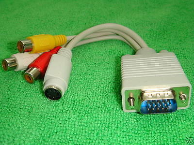 VGA Connects PC Laptop Notebook to TV RCA AV S-Video Adapter 4 HP IBM DELL SONY