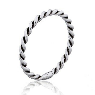 Silver ring stackable 925 sterling stack ring twist rope 2mm wide 6us to12us