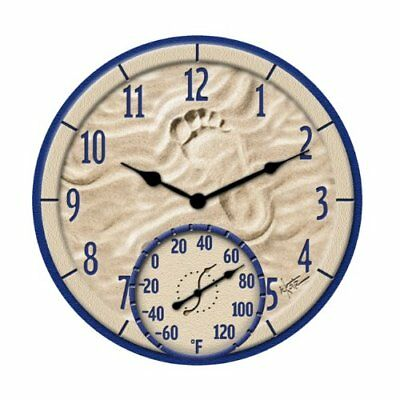 TAYLOR DIGITAL TAP91501M 14 inch By the Sea Poly Resin Clock with Thermometer