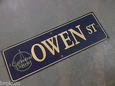 "Vintage OWEN ST Cathedral District Street Sign 36"" X 12"" GOLD on NAVY BK Ground"