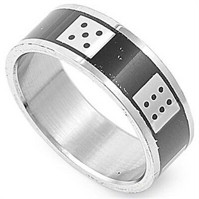 Stainless Steel Black IP Plated Bone Dice All Around Good Luck Ring Size 9-14