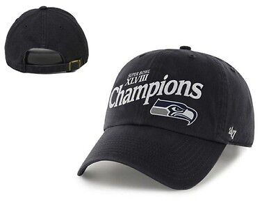 52c6a3964 NWT Seattle Seahawks 47 Brand Super Bowl XLVIII Clean Up Adjustable Hat Cap