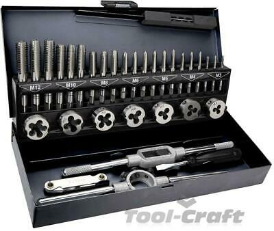 Heavy duty metric tap and die set 32 pcs in metal case M3-M12 (Top 14A426)