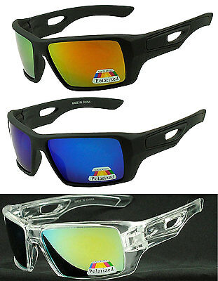 Mens Sport Large Square POLARIZED Mirrored Lens Wrap Around SUNGLASSES