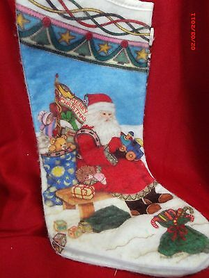 VINTAGE FELT CHRISTMAS STOCKINGS SANTA CLAUS FATHER CHRISTMAS with toys 15""