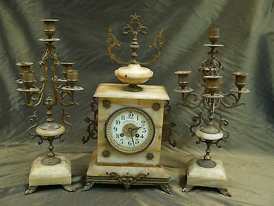 Antique AD Mougin French Mantle Clock w/2 candelabras, marble and brass