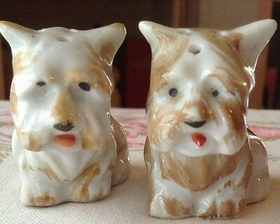 """Salt & Pepper Yorkshire Terriers Brown And White 1.75"""" tall Japan Stamped"""
