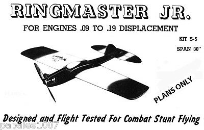 """Model Airplane Plans (UC): RINGMASTER Jr. 30""""ws for .09-.19 Engines"""