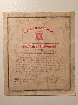 10th Infantry Division 1958 Certificate of Achievement Wurzburg Germany Sergeant