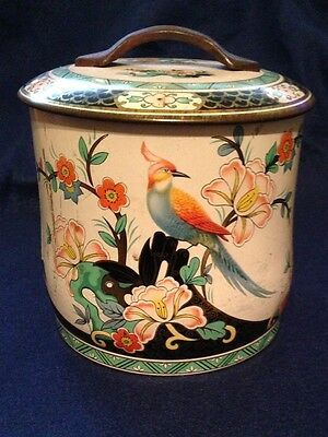 McIntosh Vintage Toffee Tin England Bird Floral Candy Cookie Biscuit
