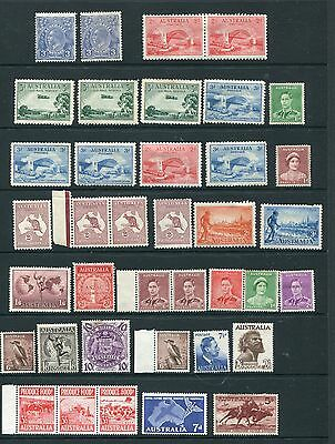 AUSTRALIA 1929 TO 1961 SELECTION OF 38 STAMPS MOSTLY MINT