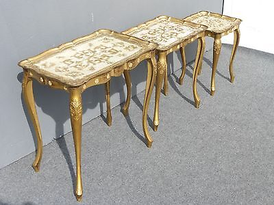 Three Vintage ITALIAN NESTING TABLES & Gold Gilt French Floral Design