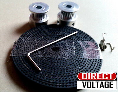 3D Printer GT2 Timing Belt 2 meters, 2mm Pitch, 6mm Width. Pulley 2 x 5mm bore