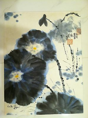 VINTAGE CHINESE HAND PAINTED WATERCOLOR ON PAPER FLOWERS SIGNED