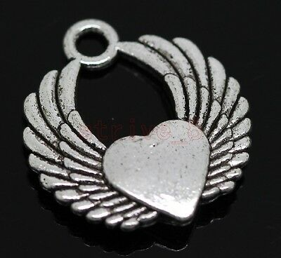 Lot 6pcs Tibet Silver Winged Winged heart Jewelry Charm pendant 22x20mm