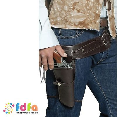 AUTHENTIC BROWN WESTERN GUNMAN BELT & HOLSTER COWBOY mens fancy dress costume