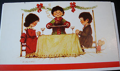 Unused Vintage Christmas Card Christmas Dinner with Family and Mouse Norcross