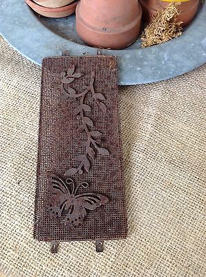Shabby Rusty Wire Mesh Panel With Vine & Butterfly Architectural Cottage Chic #2