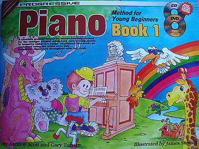 Progressive Piano Method for Young Beginner Book 1 CD DVD Tutor Illustrated B22