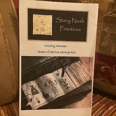 """Stacy Nash Primitives """"Country Sampler Queen Of Spring Sewing Roll"""" Cross Stitch"""