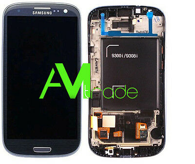 LCD DISPLAY FRAME COMPLETO ORIGINALE TOUCH SAMSUNG GALAXY S3 NEO I9301 BLU BLUE