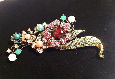 Vintage Antique Gold Multicolored Opal/Pearl/Ruby Rhinestone Fashion Brooch/Pin