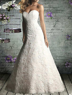 New White/Ivory Custom Bridal Wedding Dress Gown A-Line Lace Sweetheart Formal