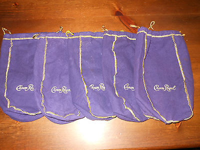 "CROWN ROYAL DISTILLERY Lot of 5 Large 12"" Bags From The Early 2000s"