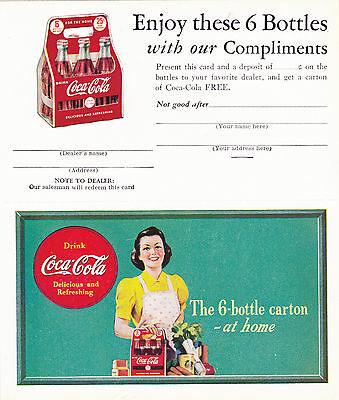 1940's Unused Coupon for Free 6 Bottles of Coca-Cola