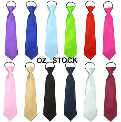 Boys Kids Child Neck Ties Necktie Satin Tuxedo School Wedding Party Elastic Tie
