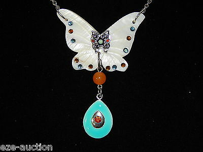 Mother Of Pearl Carved Necklace W. Butterfly Crystal