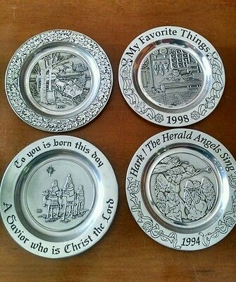 Lot of 4 Wilton Armetale Collectible Christmas Plates - 1970, 1981, 1994 & 1998