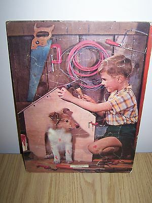 Vintage Willing Helper Puzzle Boy with Collie Dog Puppy Made in USA Sealed