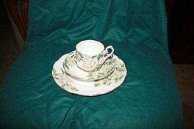 "Royal Albert Flower of the Month ""Hawthorn"" Luncheon Set - Cup, Saucer, Plate"