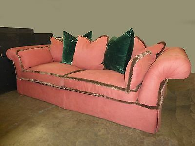 Vintage DESIGNER SOFA Downed Feathered Cushions SALMON PINK Green Velvet Pillows