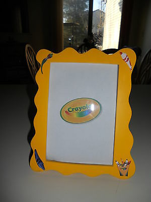 "Adorable CRAYOLA Wood Photo Frame - Holds 4"" x 6"" Photo - Yellow FUN!"