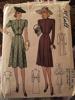 Absolutely Charming Vintage 1940's McCall's Dress Pattern Size 18
