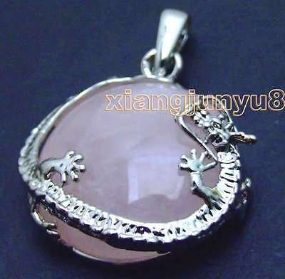 SALE Big 23mm Round Pink Crystal with coil dragon design Pendant-pen247