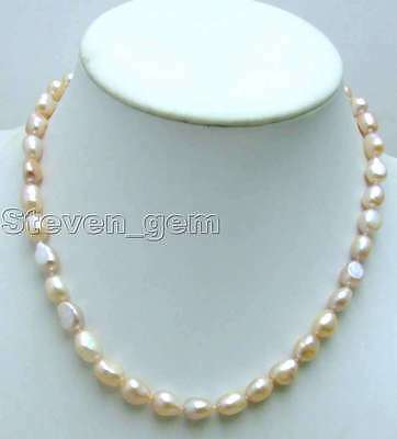 """SALE Big 7-9mm Pink BAROQUE natural Freshwater PEARL 17"""" Necklace-nec5783"""